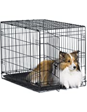 "New World 30"" Folding Metal Dog Crate, Includes Leak-Proof Plastic Tray; Dog Crate Measures 30L x 19W x 21H Inches, for Medium Dog Breeds"