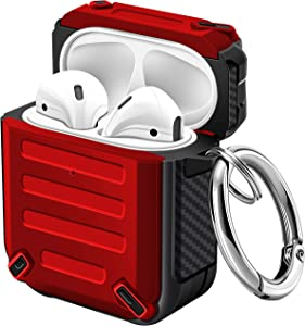 Maxjoy Airpod Case TPU Protective Case Sword Armor Series Case with Carabiner Shockproof Dustproof Airpod Case Cover for Apple Airpods 2 Wireless Charging case (Red)