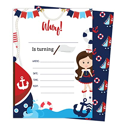 Amazon Nautical Style 3 Happy Birthday Invitations Invite Cards