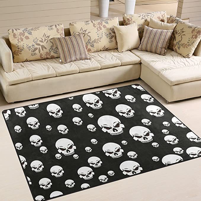 Amazon.com: ALAZA suave interior moderno skullarea alfombra ...