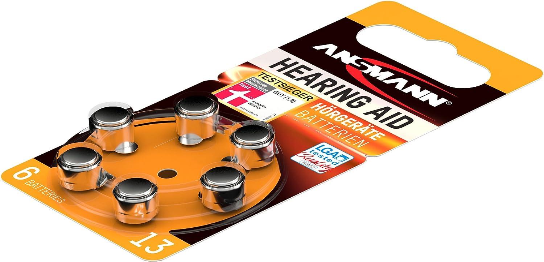 ANSMANN Hearing Aid Battery Size 13 1.4V Zinc-Air 6 Pack