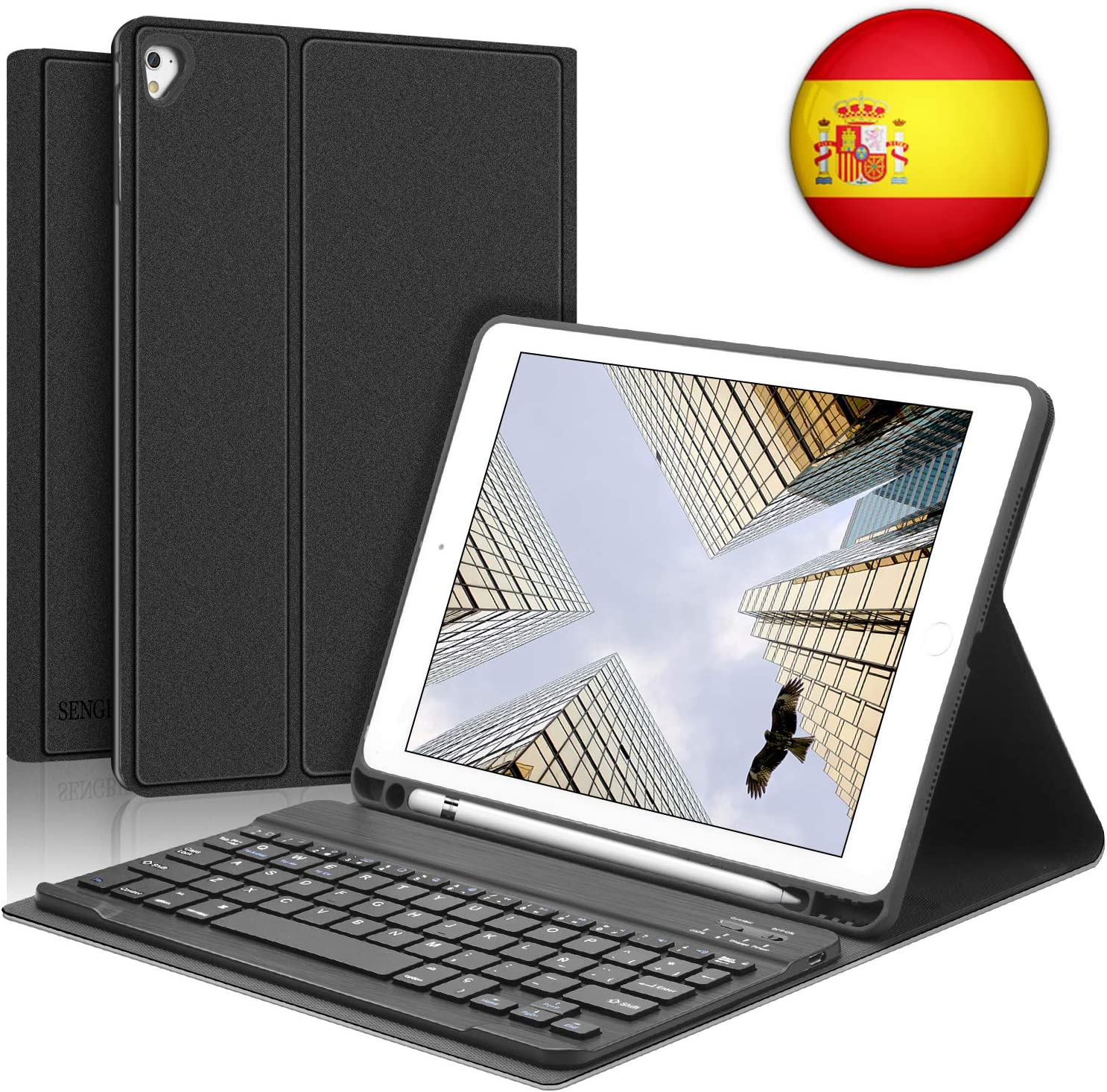SENGBIRCH iPad Teclado Funda, Funda con Teclado Español para iPad 2018(6th Gen)/iPad 2017/iPad Air 2/iPad Air/iPad Pro 9.7,Teclado Bluetooth con Cover Smart Auto Sleep/Wake para iPad 9.7-Negro