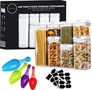 HOMESTO Airtight Food Storage Container Set - BPA-Free - Kitchen Organization Containers for Flour, Cereal with Improved Lids (7 Piece) - Includes Labels & Marker and 4PC Measuring Spoon Set