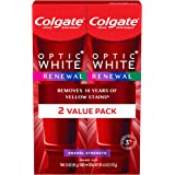 Colgate Optic White Renewal Teeth Whitening Toothpaste with Fluoride, 3% Hydrogen Peroxide, Enamel Strength - 3 Ounce (2…