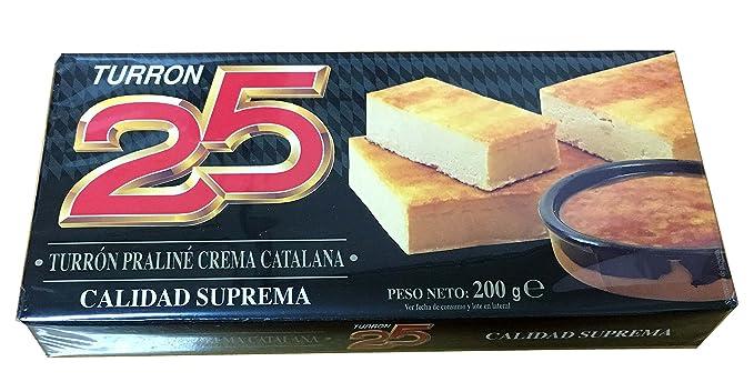 Turron25 - Turron Praliné Crema Catalana - Turron de Crema Catalana - Calidad Suprema - 200gr