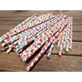 Paper Straws (100 Pc) - Flower Design Drinking Straw Pink, Yellow and Blue Color Biodegradable Non-Toxic Straaws Baby Shower Birthday Wedding Engagement Party Favor Cupcake Topper Decorative Straws