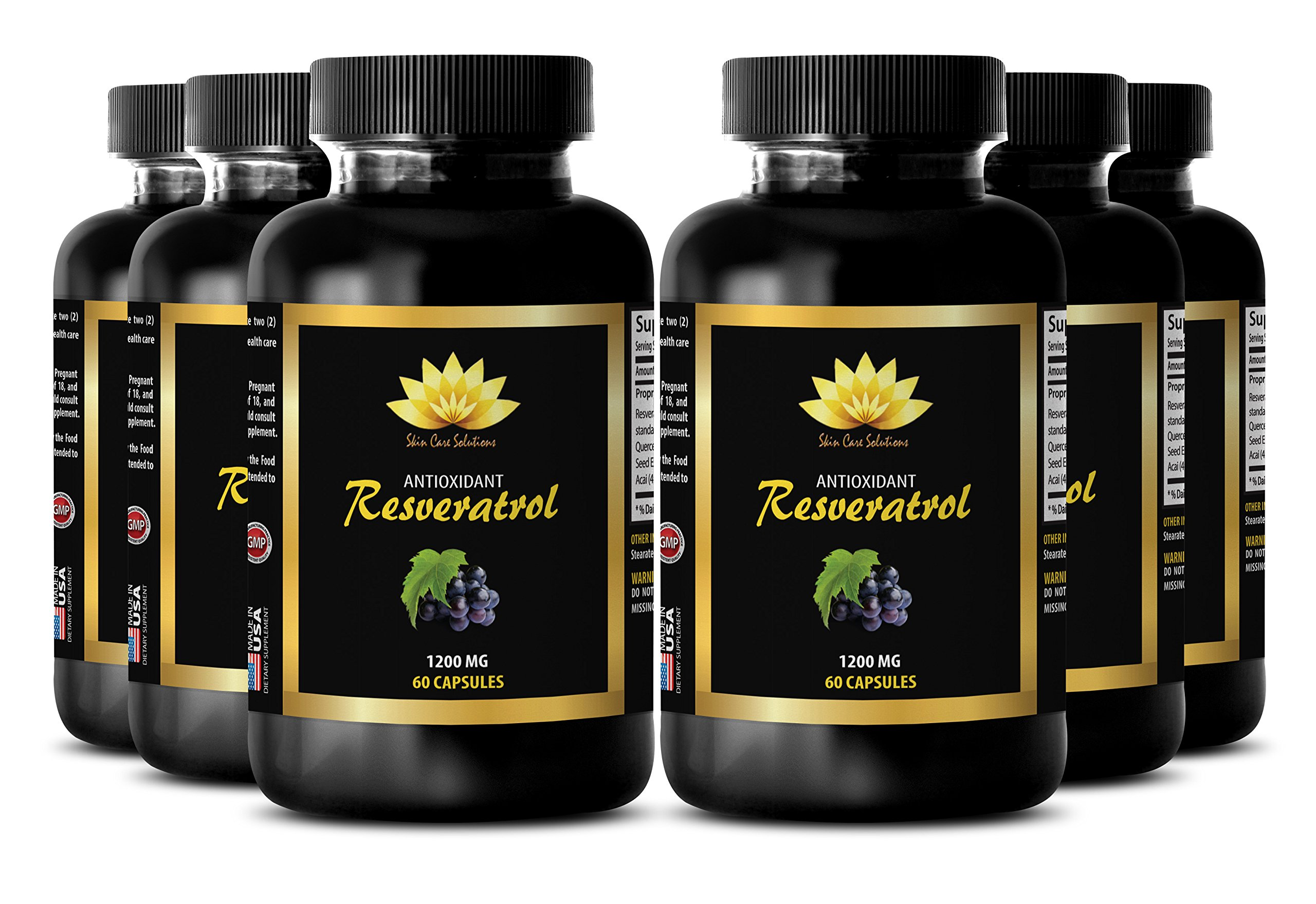 Prostate support - PURE RESVERATROL SUPPLEMENT 1200 mg - Pomegranate health - 6 Bottles 360 Capsules