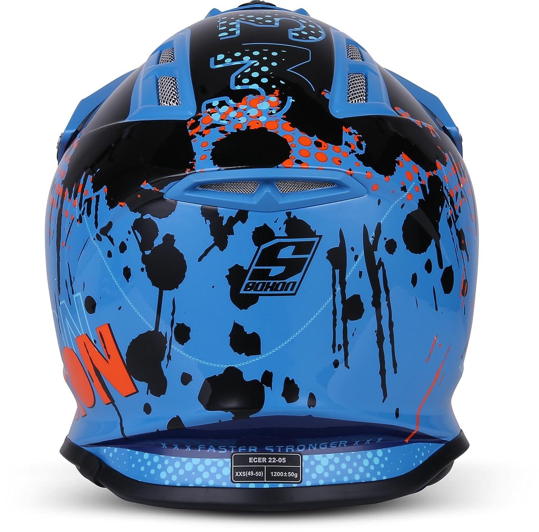 "Soxon/® SKC-33 Set /""Fusion White Blue/"" /· Kinder-Cross-Helm /· Motorrad-Helm MX Cross-Helm MTB BMX /· ECE Schnellverschluss SlimShell Tasche S 53-54cm"