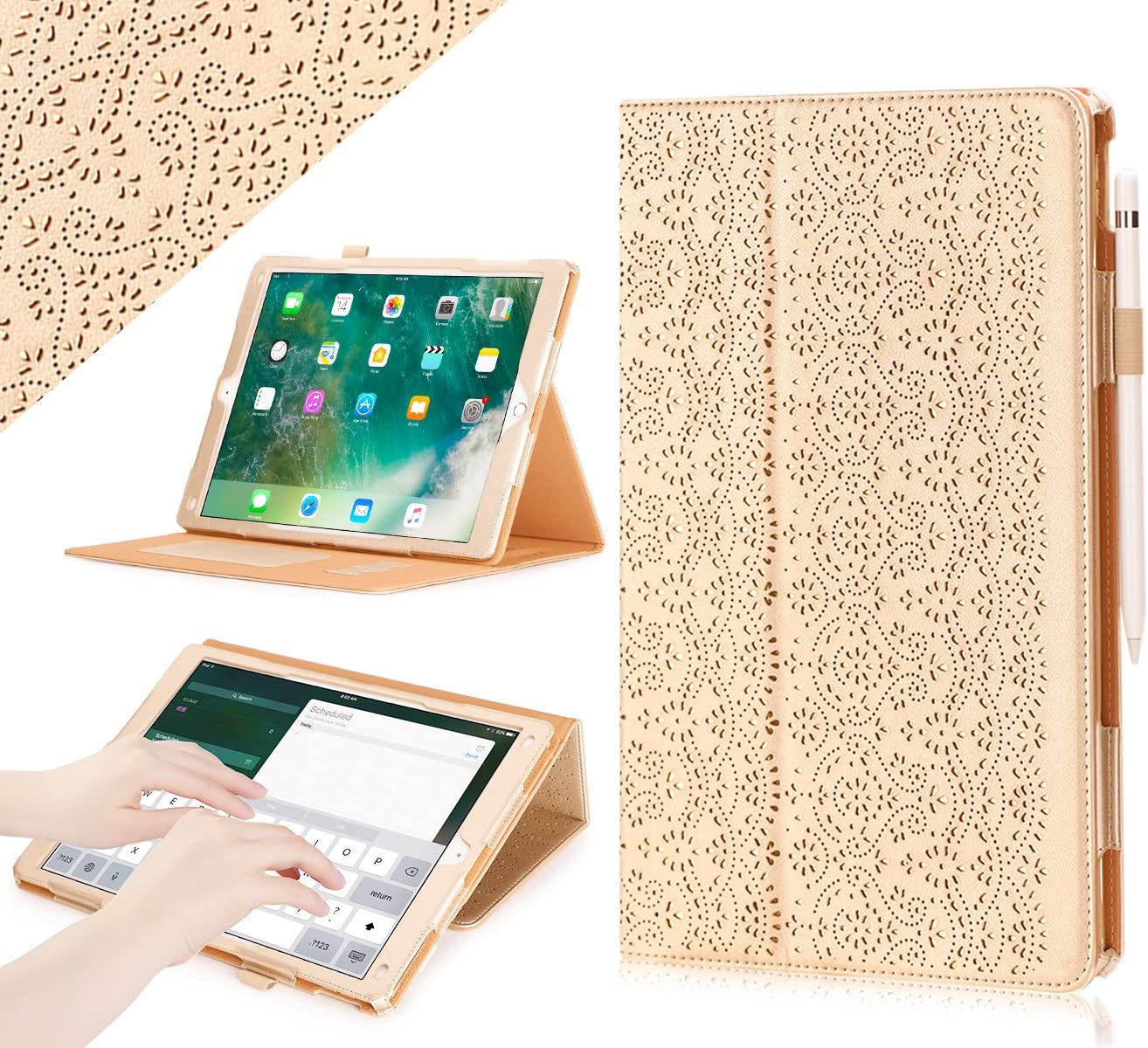 iPad Pro 12.9 (Compatible with 2017 and 2015 Model) Case, WWW [Luxury Laser Flower] Premium PU Leather Case Protective Cover with Auto Wake/Sleep Feature for iPad Pro 12.9 (Both 2017 and 2015) Gold