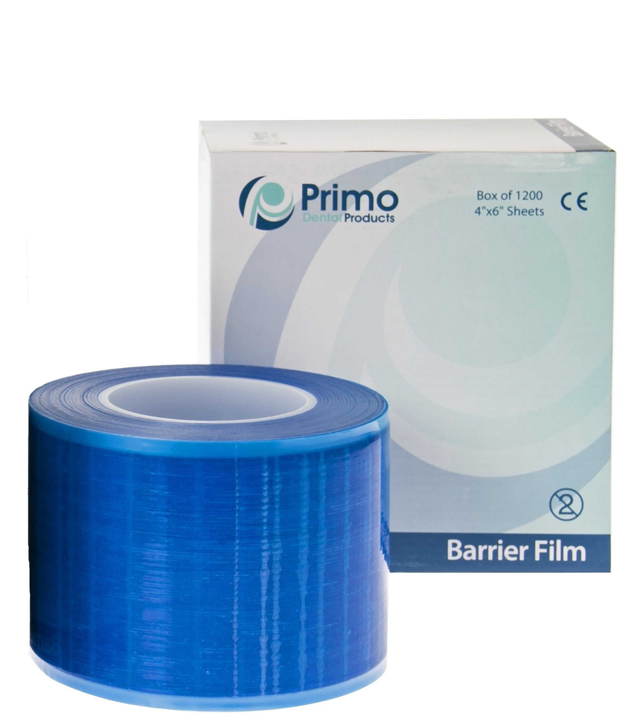 Primo Dental Products BF200B Barrier Film Roll, 4'' x 6'', Blue