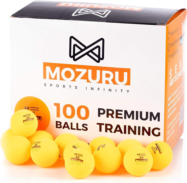 MOZURU Pelotas de Ping Pong Pack 100 Unidades, 100 Pelotas de Tenis de Mesa, Premium Training 40+, Pelotas de plástico Naranja, Material ABS con Costura