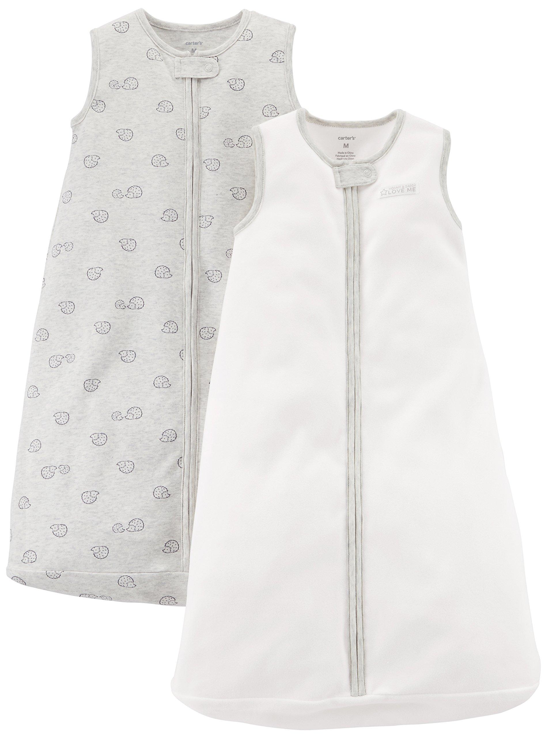 Carter's Baby 2-Pack Cotton Sleepbag, Ivory/Grey Hedgehog, Medium