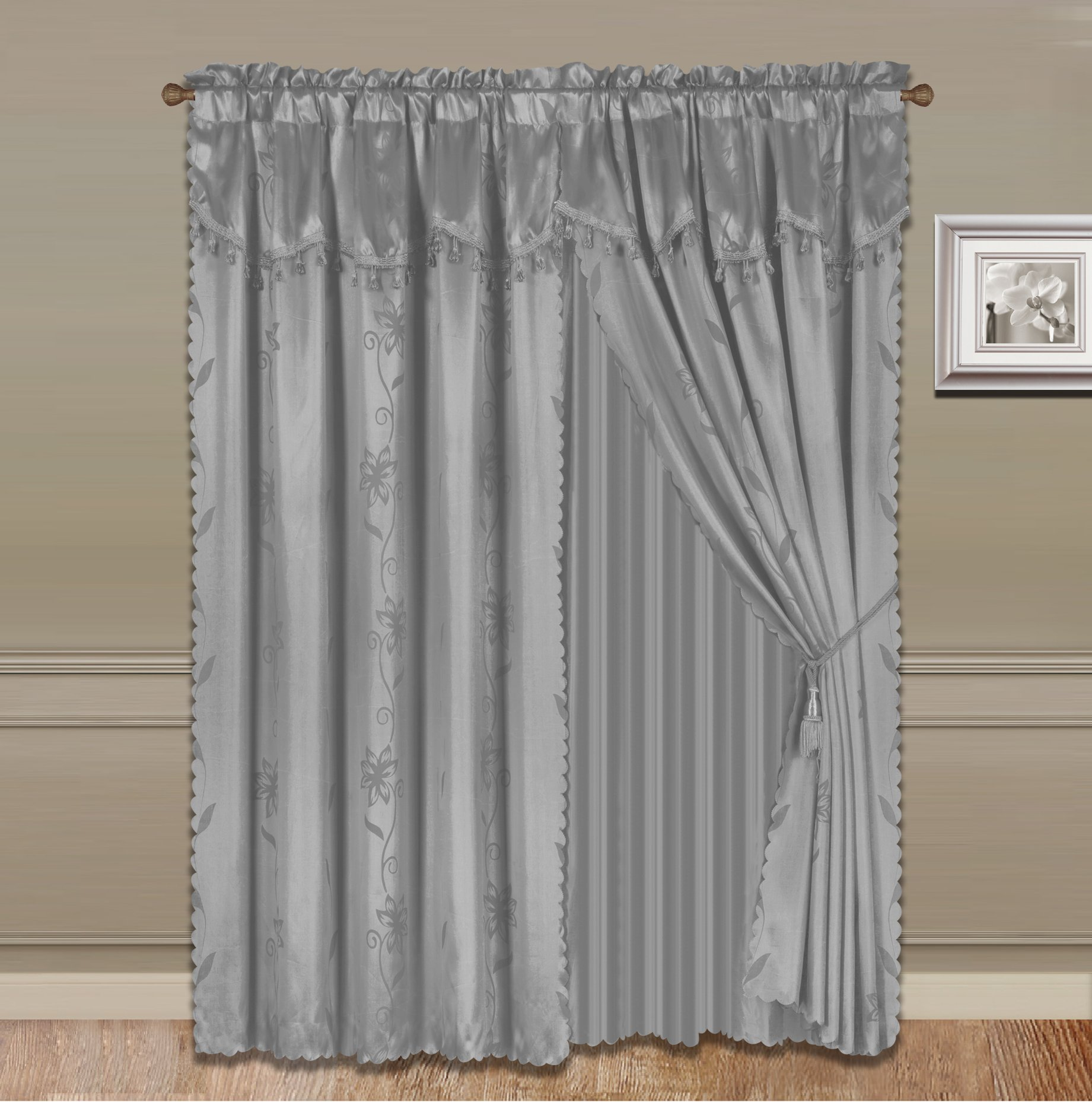 GorgeousHomeLinen 8-Piece Silver Nada Luxury Faux Jacquard Flower Design Panel, Rod Pocket Window Curtain Set Attached Valance, Panel, And Sheer- Includes 2 Tassels