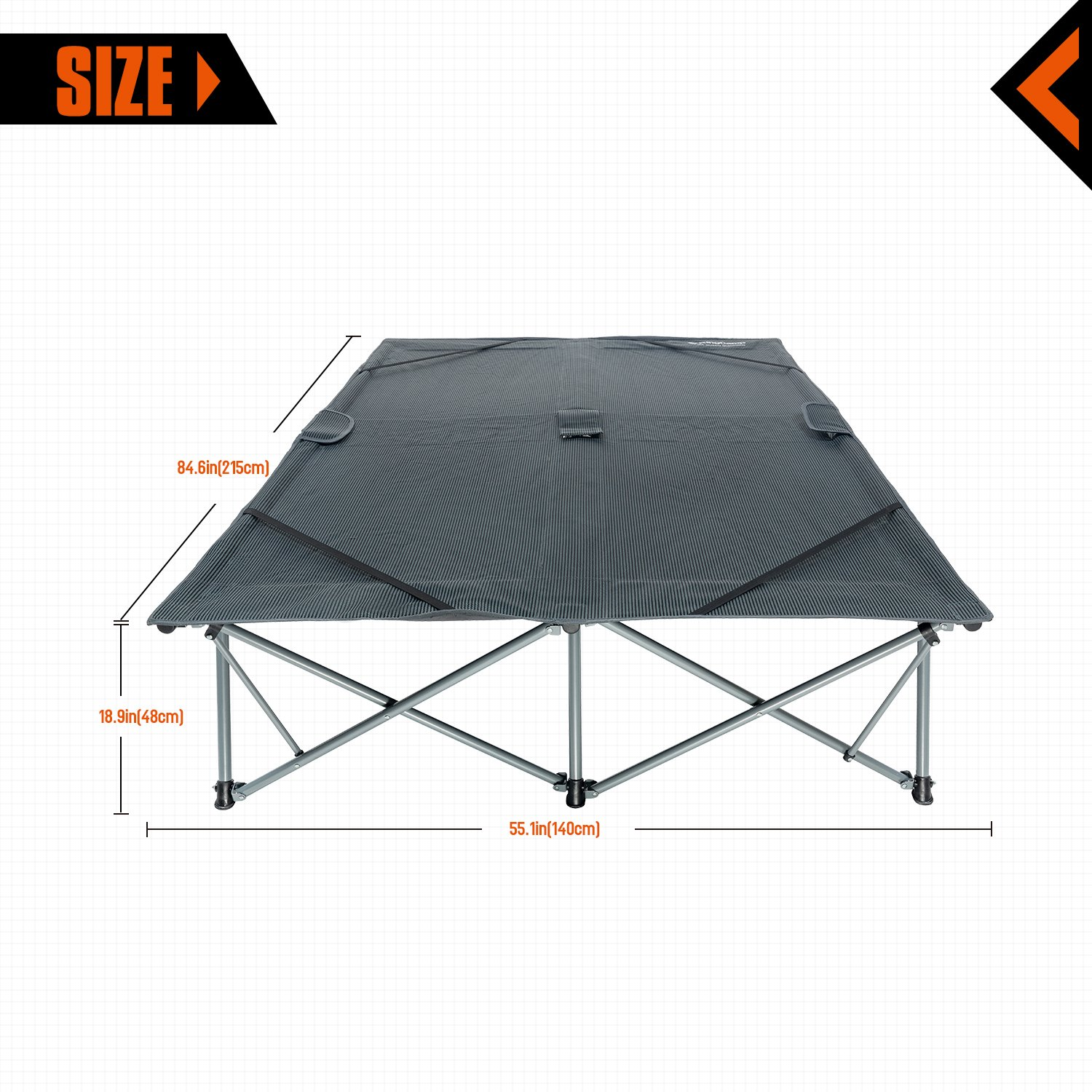 KingCamp Camping Cot Double 2 Person Oversized Anodized Steel Frame Portable Folding Bed Portable with Wheeled Carry Bag by KingCamp (Image #2)