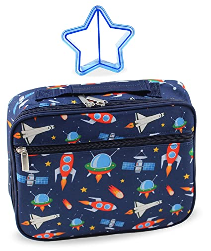 930d7d06f0bc Amazon.com  Lunch Box Outer Space Rocket Ships in Dark Navy Blue ...