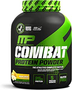 MusclePharm Combat Protein Powder - Essential blend of Whey, Isolate, Casein and Egg Protein with BCAA's and Glutamine for Recovery, Banana Cream, 4 Pound