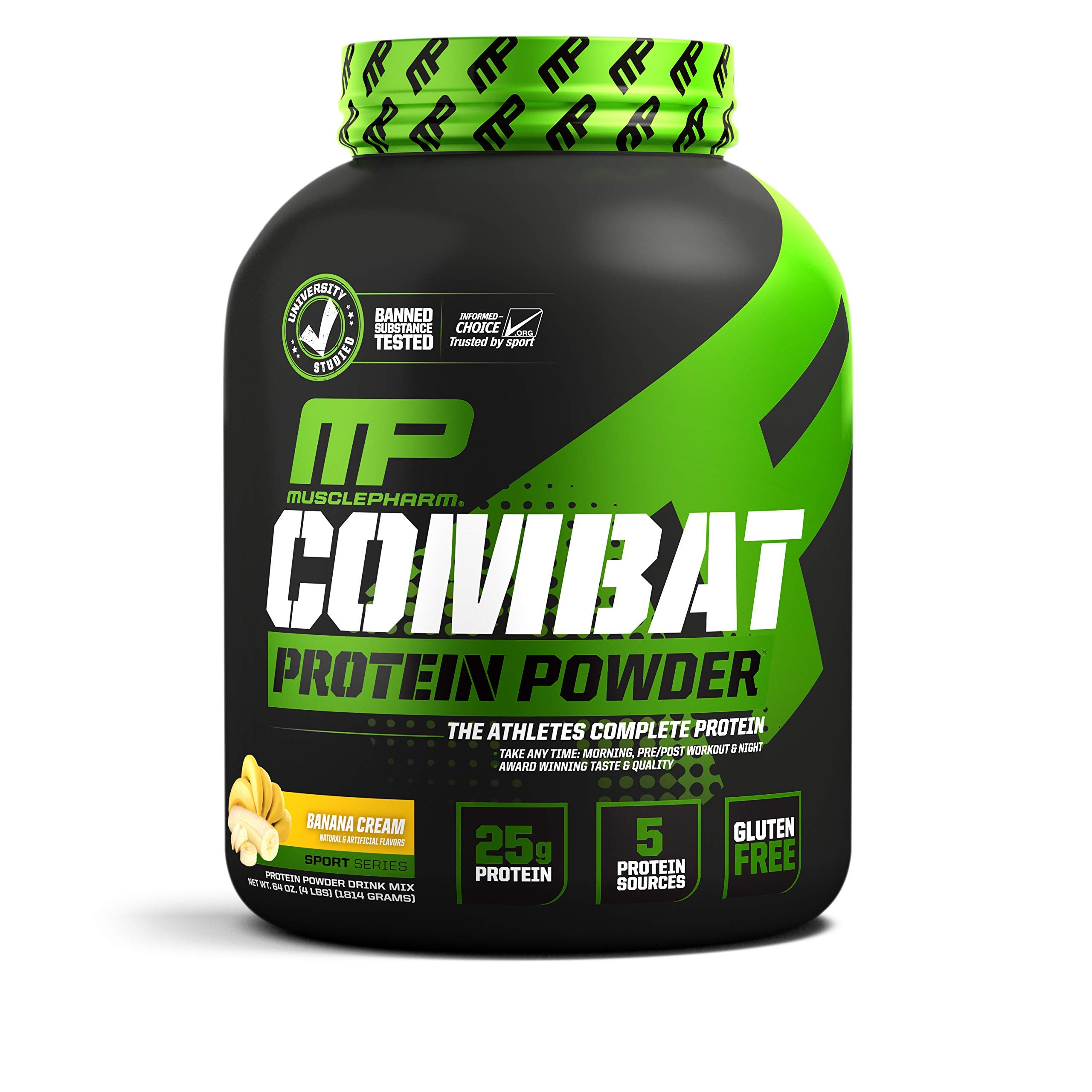 MusclePharm Combat Protein Powder, Essential Whey Protein Powder, Isolate Whey Protein, Casein and Egg Protein with BCAAs and Glutamine for Recovery, Banana Cream, 4-Pound, 54 Servings