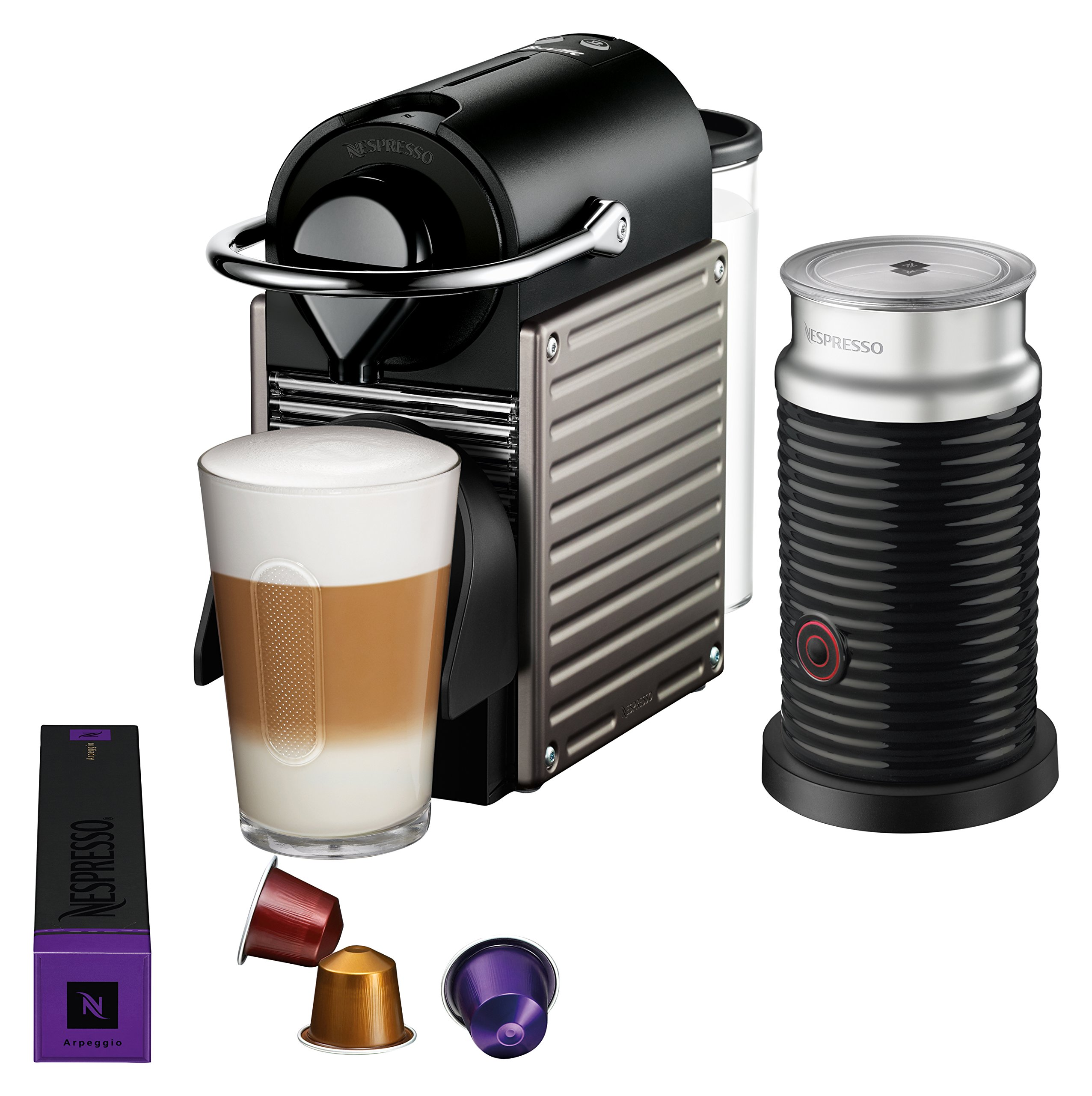 Nespresso Pixie Espresso Machine by Breville with Aeroccino, Titan