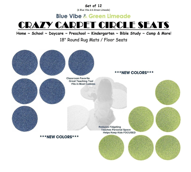 CHILDREN'S CRAZY CARPET CIRCLE SEATS - Blue Vibe & Green Limeade Set | 18'' Round Rug Mats / Floor Seats SCHOOL & HOME Favorite (Set of 12 Seats - 6 Blue/ 6 Green)