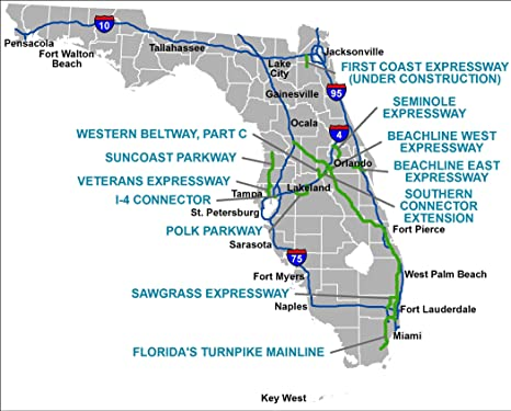 Toll Roads In Florida Map.Amazon Com Home Comforts Laminated Map Florida S Turnpike The