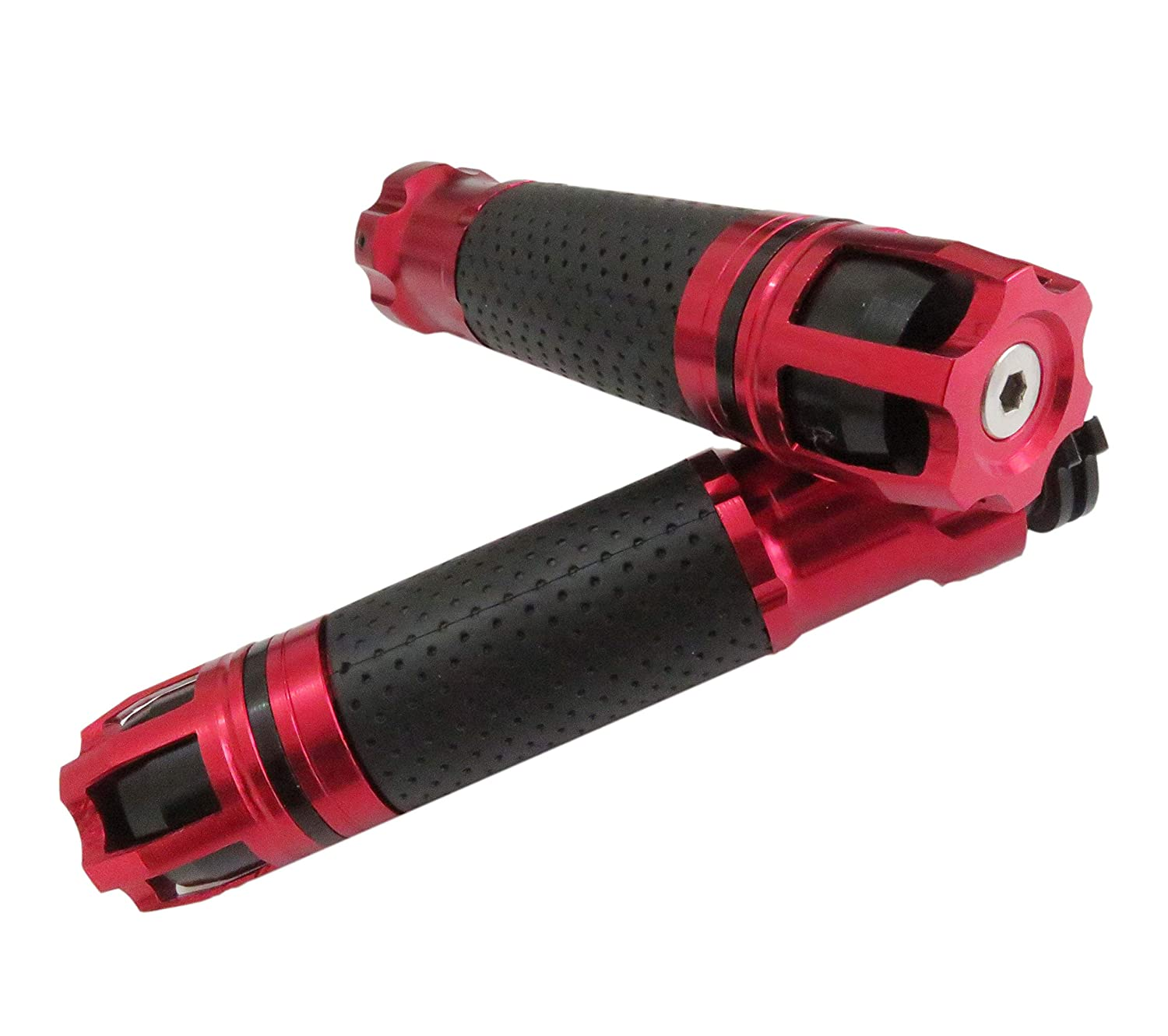 XSPANDER 7//8 Motorcycle Throttle CNC Aluminum Alloy Rotatable Hand Grips Handlebar Bars Grip Red, 1 Pair Left /& Rigt
