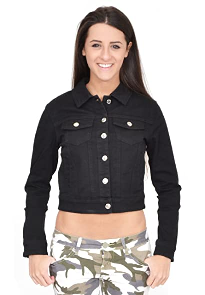 Ladies Womens Black Fitted Denim Jacket: Amazon.co.uk: Clothing