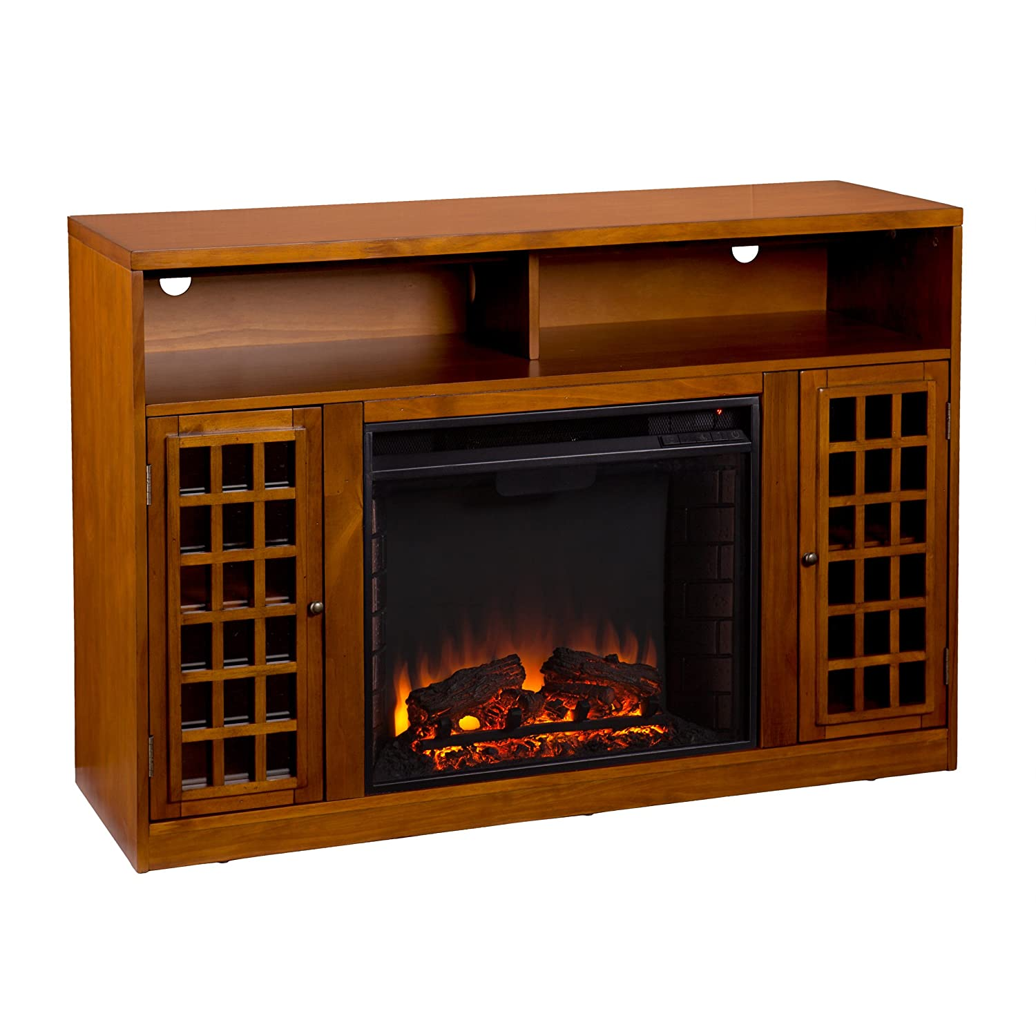 Amazoncom SEI Narita Media Console with Electric Fireplace