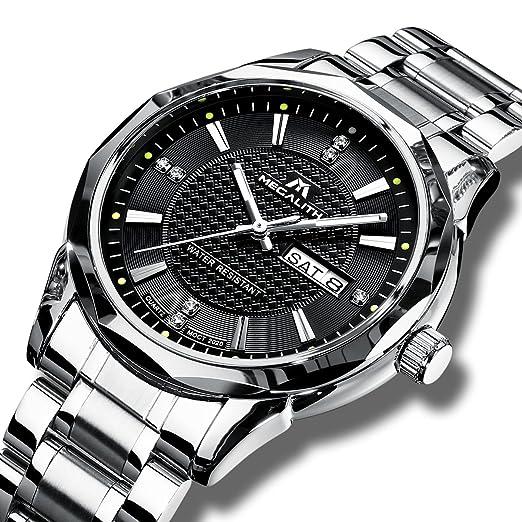 Relojes de Hombre Reloj de Pulsera Impermeable Lujo Moda Fecha Calendario Clásicos Silver Acero Inoxidable Reloj de Cuarzo para Hombres Negocio Casual Dial ...