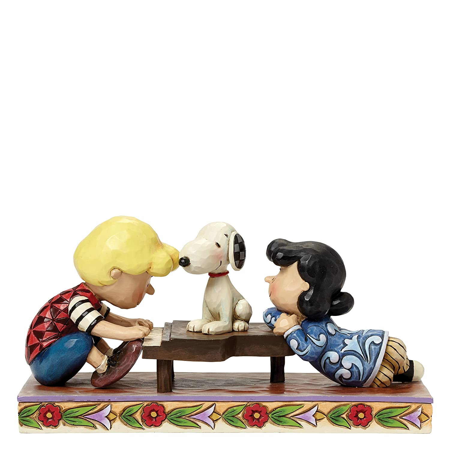 Jim Shore for Enesco Peanuts Schroeder with Lucy & Snoopy Figurine, 4 4 Enesco Gift 4042385