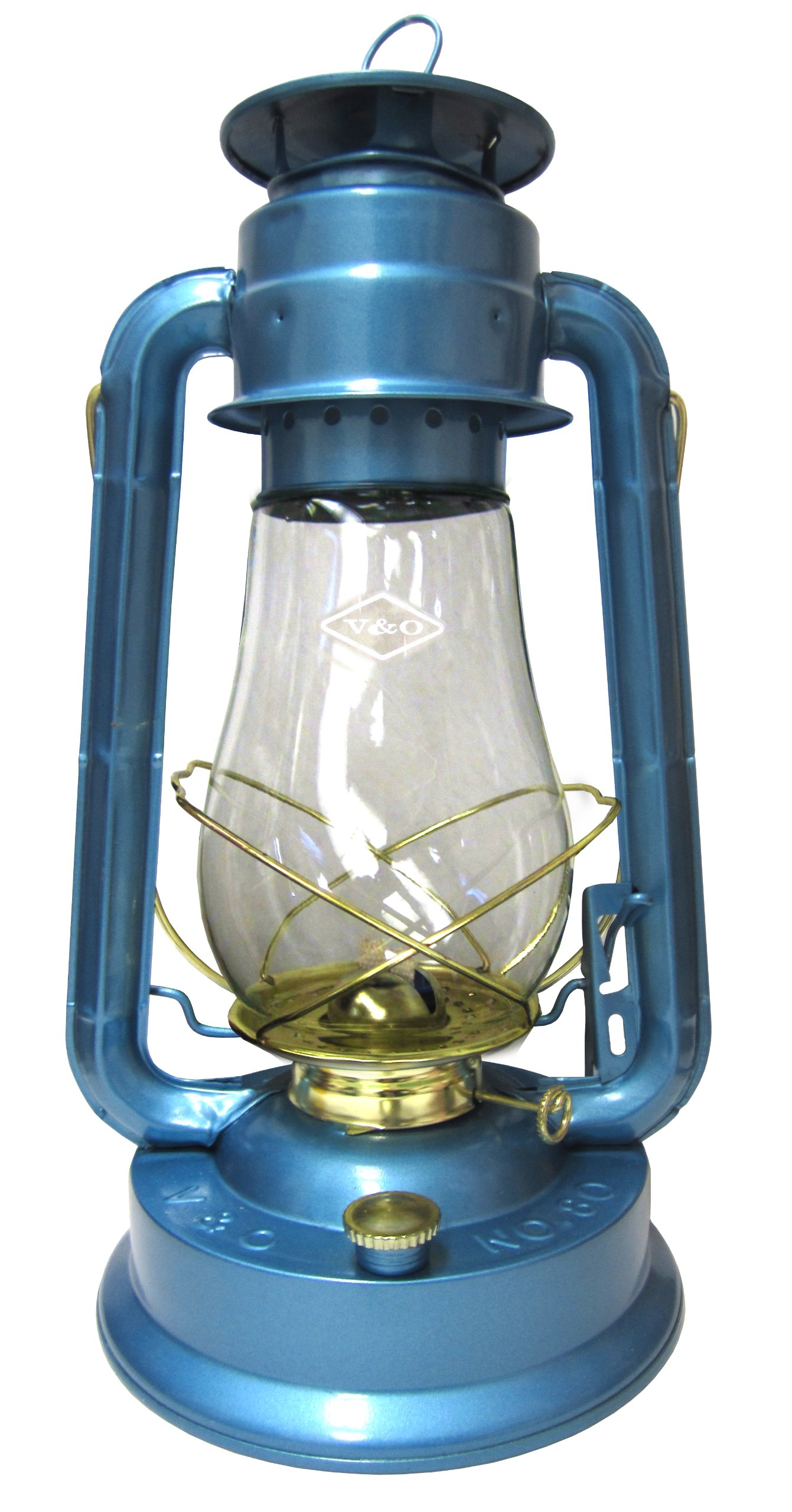 V&O 310-80061 Supreme Brass Trim Oil Lantern Blue