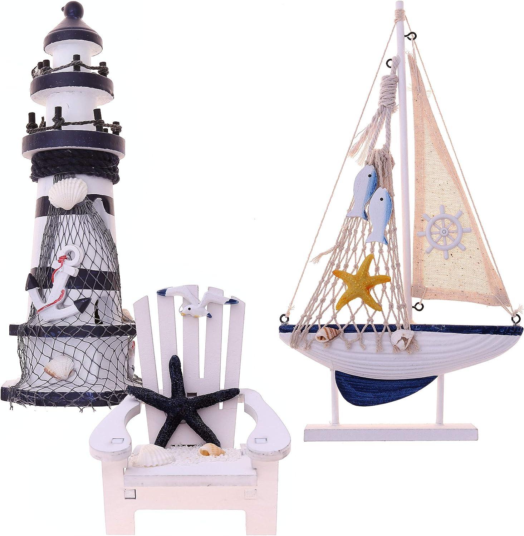 Flanacom Maritime Set de 3 accessoires de salle de bain avec d/étails