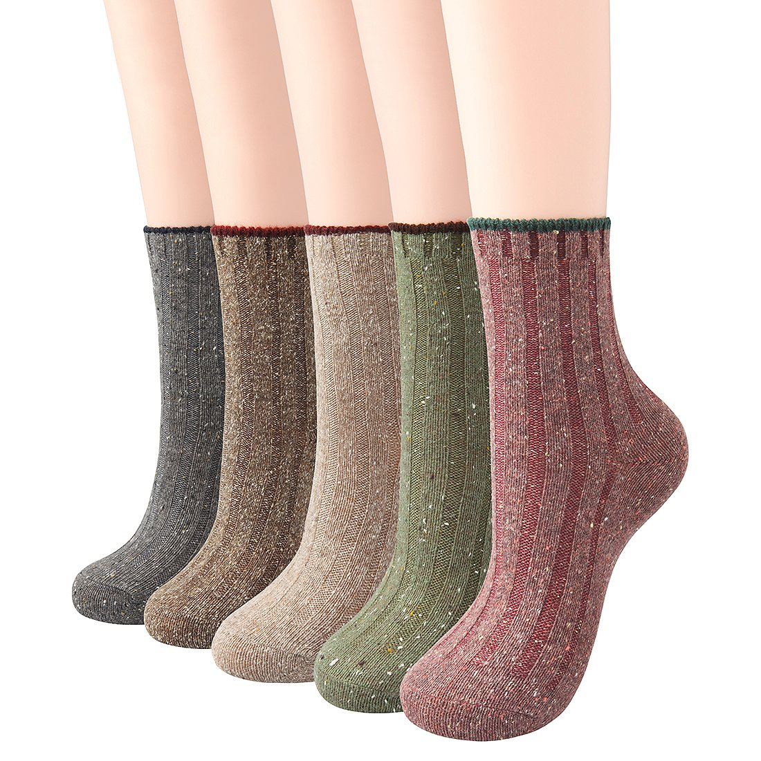ChicNChic Women Warm Socks Casual Soft Cotton Blend Ribbed Knit Colorful Crew Socks 5 Pack (One Size, Multicolored 1)