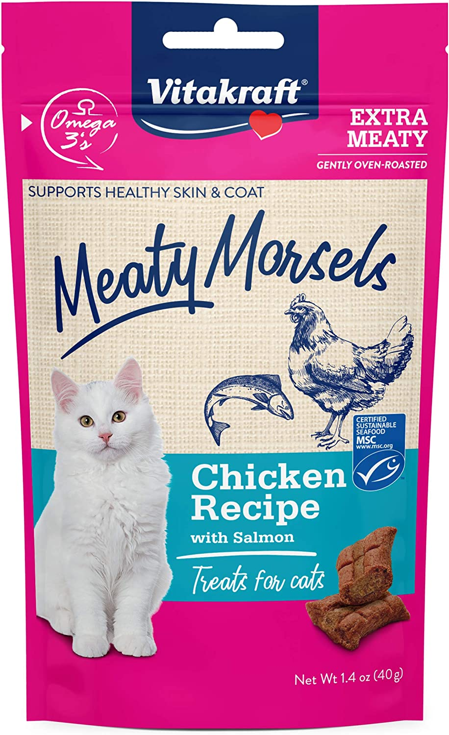 Vitakraft Meaty Morsels Chicken Recipe Treats for Cats, Extra Meaty, Gently Oven-Roasted