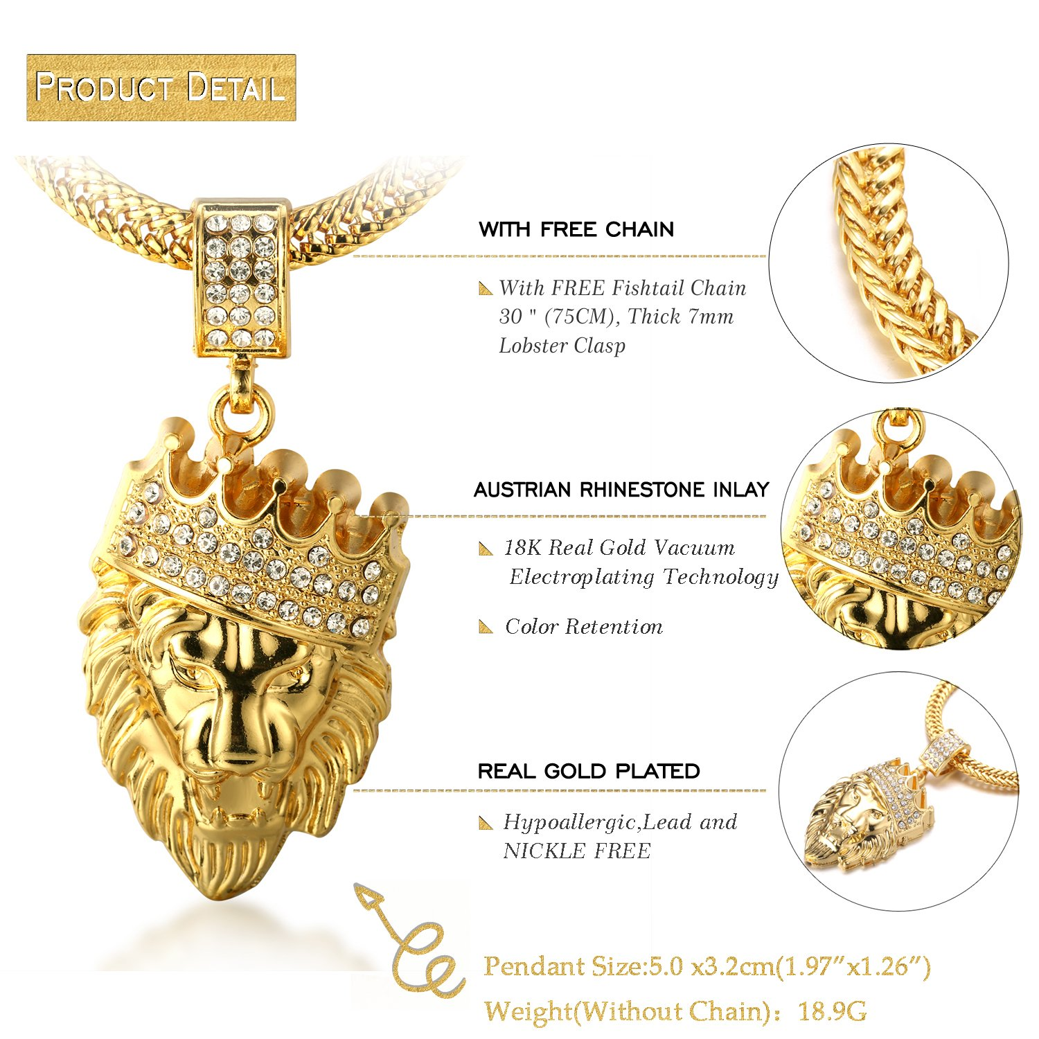 Bundle offer 18k gold plated amp white gold plated necklace 2 ring - Halukakah Kings Landing Men S 18k Real Gold Plated Crown Lion Pendant Necklace With Free Sharktail Chain 30 Amazon Com