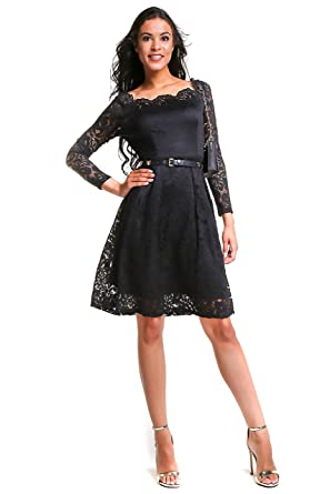 Anette Womens Vintage Long Sleeve Boat Neck Floral Lace Semi Formal