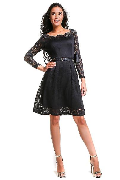 Amazon.com: Vestido de mujer vintage de manga larga con ...