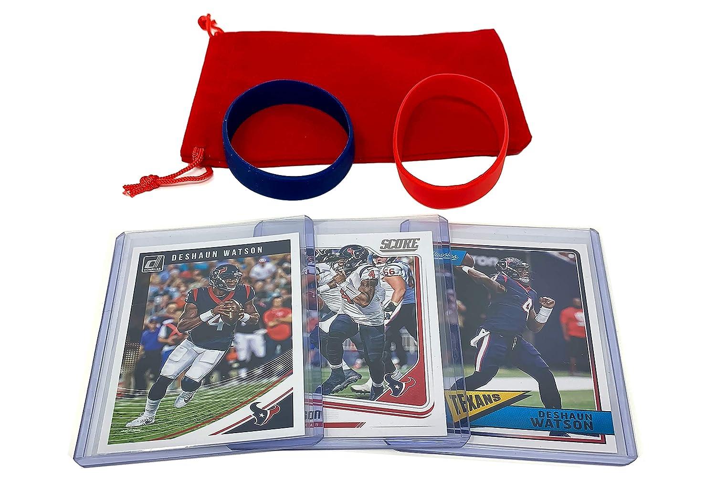 Deshaun Watson Football Cards (3) Assorted Bundle - Houston Texans Trading Card Gift Set Panini Bowman Topps