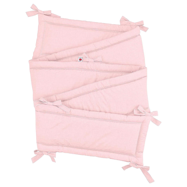 Sugarapple Rundum Nestchen, Bettnestchen & Bettumrandung, Länge 420 cm für Baby & Kinderbetten 140x70 cm, 100% Baumwolle, Uni Rosa