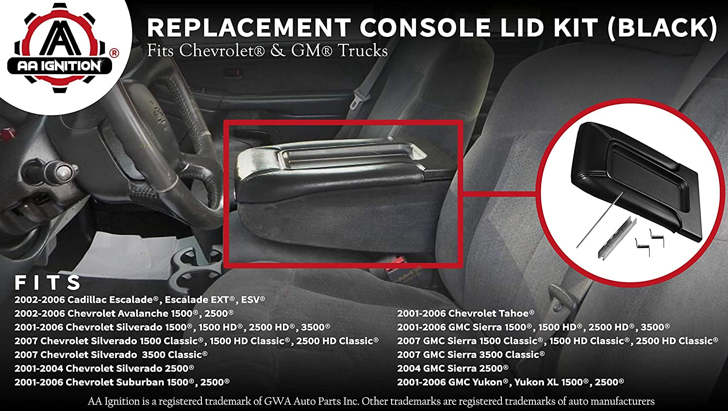 19127366 924-812 Tahoe Avalanche Suburban Replaces# 924-811 Interior Armrest Hinge Latch Center Console Lid Replacement Kit Black 19127365 Fits Chevy Silverado Yukon 19127364 GMC Sierra