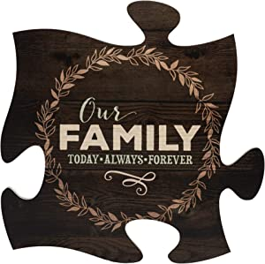 P. Graham Dunn Our Family Today Always Forever 12 x 12 Wood Wall Art Puzzle Piece Plaque