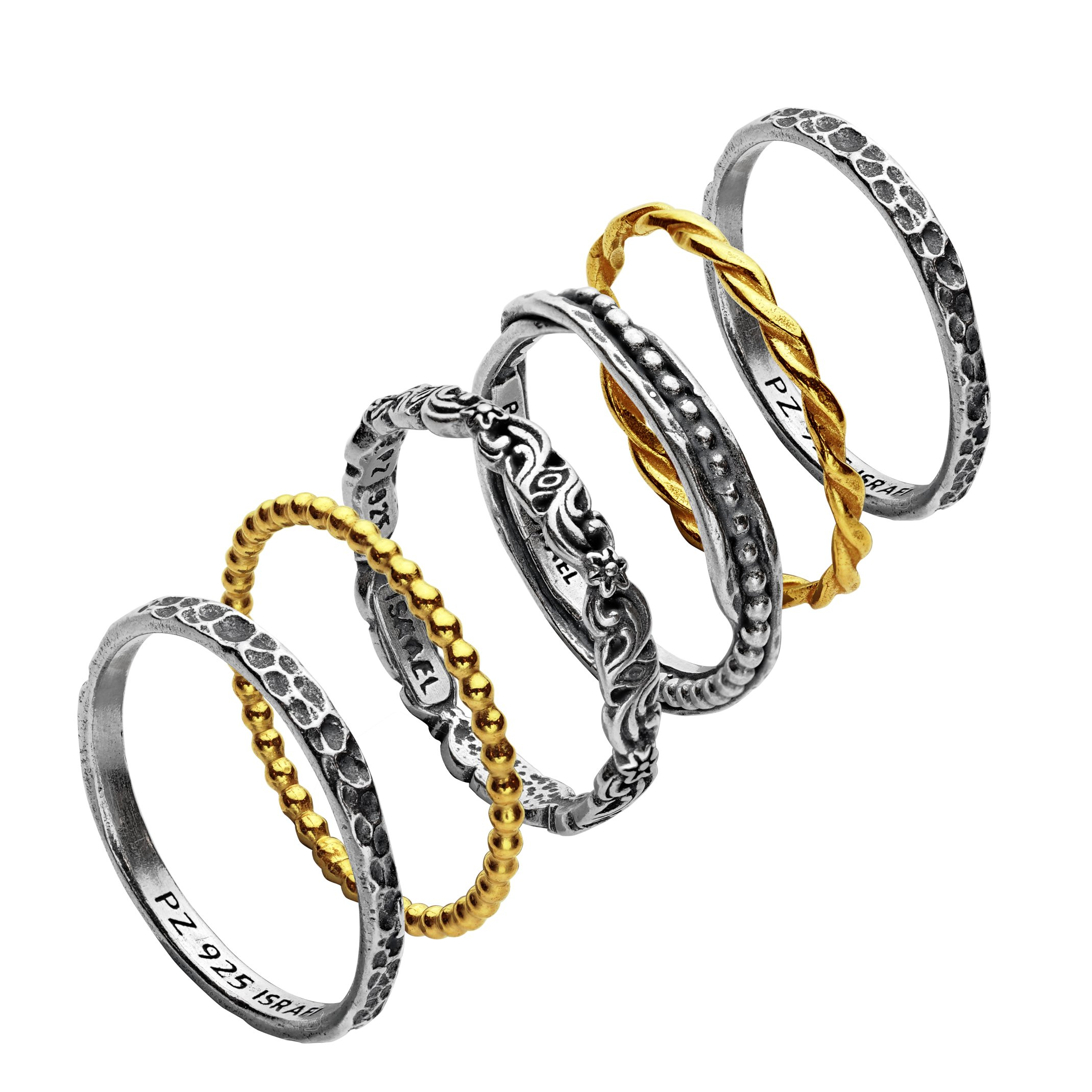 Paz Creations ♥925 Sterling Silver Set of 6 Stacker Rings (8), Made in Israel