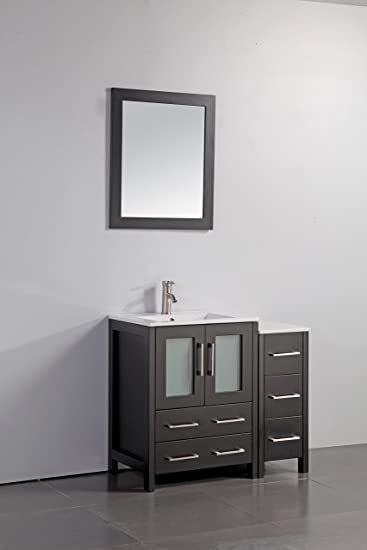 Vanity Art 36 Inch Single Sink Bathroom Vanity Set With Ceramic Top
