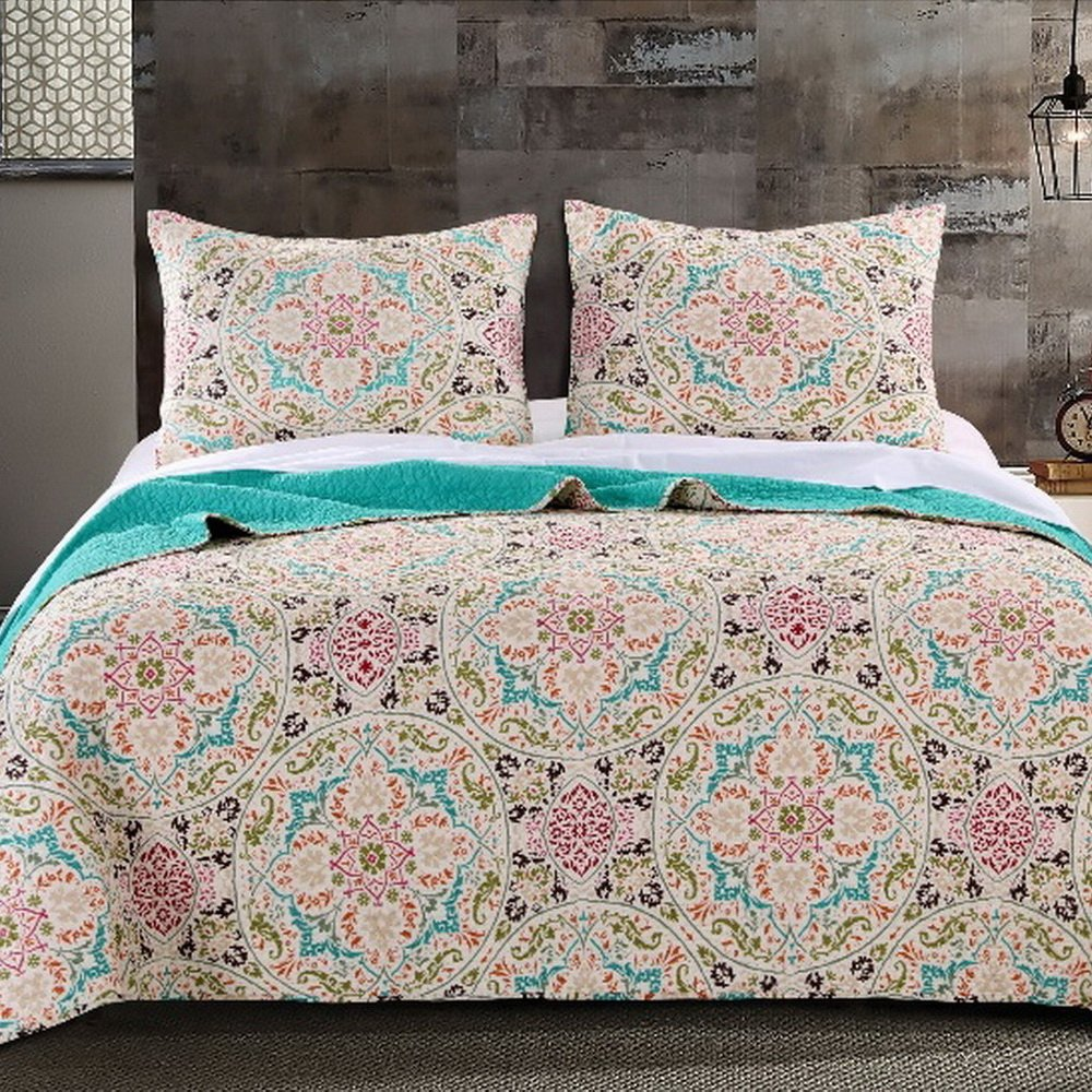 Vintage Moroccan Style Medallion Aqua Blue Cotton 3 Piece Bedding Quilt