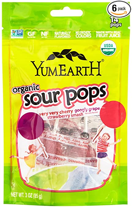 YumEarth Organic Super Sour Lollipops, 3 Ounce Pouches (Pack of 6)