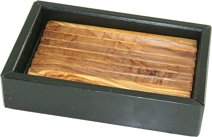 D, o.m. Jabonera de pizarra y de madera de olivo 14 cm: Amazon.es: Hogar