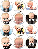 "Boss Baby Stickers, Large 2.5"" Round Circle DIY Stickers to Place onto Party Favor Bags, Cards, Boxes or Containers -12 pcs"