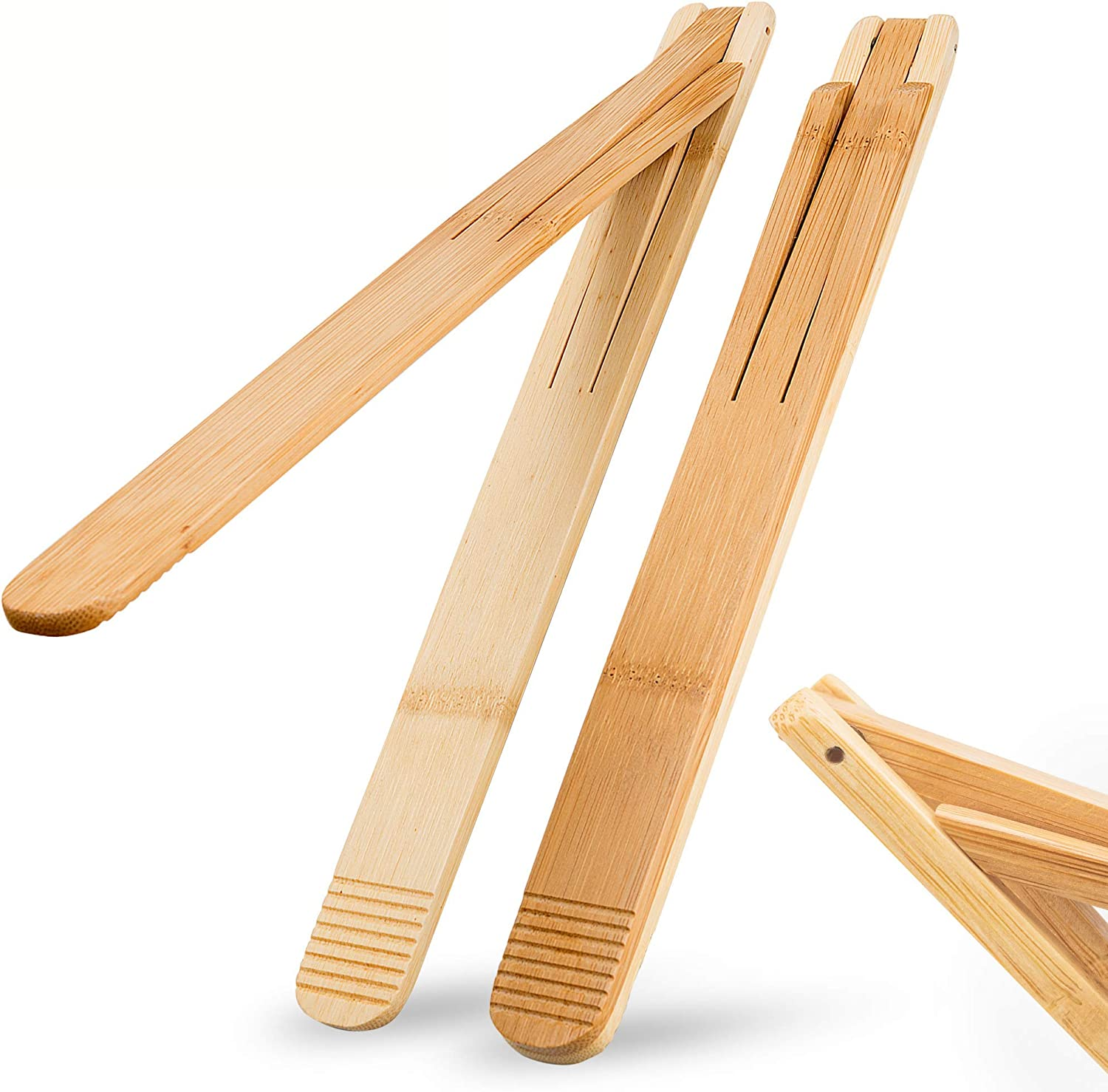 Bamboo Wood Salad Tongs with Space Saving Collapsible Spring, Enhanced Grip for Kitchen, BBQ Cooking, Camping or Grill, Foldable Carry or Storage, Flipping and Serving | Set of 2