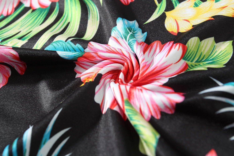 SSLR Womens Floral Print Crew Neck Casual Short Sleeve Hawaiian T-Shirt