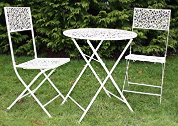 Antique Cream Metal Garden Bistro Set Table And 2 Chairs Amazon