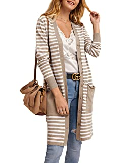 Yacooh Womens Boho Open Front Striped Knit Cardigan Sweater